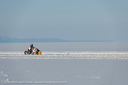 Sebastien Lorentz of Lucky Cats Garage in Chartres, France piloting Belgian custom bike builder Brice Hennebert's 2018 Indian Scout Bobber LSR racer repurposed for ice racing at the Baikal Mile Ice Speed Festival. Maksimiha, Siberia, Russia. Friday, February 28, 2020. Photography ©2020 Michael Lichter.