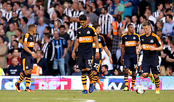 Newcastle United players look dejected after conceding a goal to Matt Smith of Fulham - Mandatory by-line: Robbie Stephenson/JMP - 05/08/2016 - FOOTBALL - Craven Cottage - Fulham, England - Fulham v Newcastle United - Sky Bet Championship