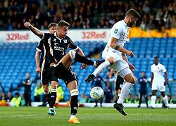 Dan Turner of Port Vale has a shot blocked by Mateusz Klich of Leeds United - Mandatory by-line: Robbie Stephenson/JMP - 09/08/2017 - FOOTBALL - Elland Road - Leeds, England - Leeds United v Port Vale - Carabao Cup