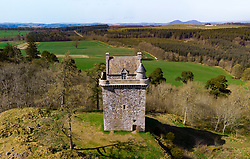 Aerial view of Fatlips Castle, or Minto Castle, a peel tower in Roxburghshire, in the Scottish Borders, Scotland, UK