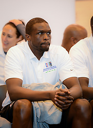 JOHANNESBURG, July 29, 2015  Luol Deng of Miami Heat attends a press conference at the American International School of Johannesburg in Midrand of Johannesburg, South Africa on July 29, 2015. The first NBA Africa Game 2015 will feature a Team Africa vs. Team World format and will take place at Ellis Park Arena in Johannesburg, South Africa on Aug. 1. Five-time NBA Champion coach Gregg Popovich of San Antonio Spurs will coach Team Africa, which is comprised of players born in Africa and second-generation African players with two-time NBA All-Star Luol Deng of Miami Heat as team captain. Brooklyn Nets Coach Lionel Hollins will coach Team World, which is comprised of players from the rest of the world with eight-time NBA All-Star Chris Paul of Los Angeles Clippers as team captain. (Xinhua/Zhai Jianlan) (Credit Image: © Zhai Jianlan/Xinhua via ZUMA Wire)