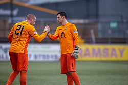 East Fife's sub keeper Daniel Terry on for the injured East Fife's keeper Brett Long. Forfar Athletic 3 v 0 East Fife, Scottish Football League Division One game played 2/3/2019 at Forfar Athletic's home ground, Station Park, Forfar.