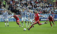 Photo: Paul Thomas.<br /> Huddersfield Town v Swindon Town. Coca Cola League 1. 29/10/2005. <br /> <br /> Swindon's Andy Gurney fires home a penalty kick to give them the lead.