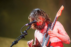 Simon Neil of Biffy Clyro headline the main stage on Friday T in the Park 2014.<br /> © Michael Schofield.