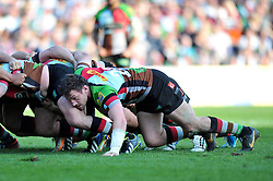 Tom Guest (Harlequins) in action at a scrum - Photo mandatory by-line: Patrick Khachfe/JMP - Tel: Mobile: 07966 386802 29/03/2014 - SPORT - RUGBY UNION - The Twickenham Stoop, London - Harlequins v London Irish - Aviva Premiership.
