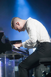 Hurts  Adam Anderson (white shirt) play the King Tut's Wah Wah Tent..T in the Park on Sunday 10th July 2011. T in the Park 2011 music festival takes place from 7-10th July 2011 in Balado, Fife, Scotland..©Pic : Michael Schofield.