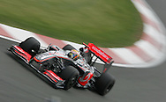 2009 Formula 1 Santander British Grand Prix at Silverstone in Northants, Great Britain. action from Friday practice on 19th June 2009. Lewis Hamilton of Great Britain drives his McLaren Mercedes F1 car..