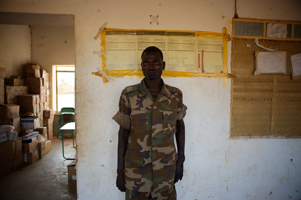May 01, 2012 - Kauda, Nuba Mountains, South Kordofan, Sudan: Hashin Ali Kuku, a Sudan People?s Liberation Movement (SPLA-N) rebel soldier display his injures, claimed to be caused by the exposure to chemical weapons used by the Sudan's Armed Forces (SAF) during combat in the rebel-held territory of the Nuba Mountains in South Kordofan. The soldiers claim to be paralyzed for more than 10 hours after been hit by an explosion of a white smoke grenade...SPLA-North, a historical ally of SPLA, South Sudan's former rebel forces, has since last June being fighting the Sudanese Army Forces (SAF) over the right to autonomy and of the end of persecution of Nuba people by the regime of President Bashir. (Paulo Nunes dos Santos/Polaris)