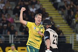 February 17, 2017 - Auckland, New Zealand - Chris Morris of South Africa celebrates the wicket of Glenn Philips  during international Twenty20 cricket match between South Africa and New Zealand. (Credit Image: © Shirley Kwok/Pacific Press via ZUMA Wire)