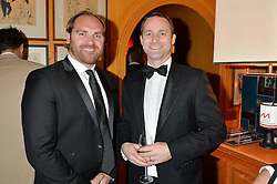 Left to right, ANDY GOODE and JAMES HARDING at the Andy Goode Testimonial Six Nations Review Dinner in aid of the Matt Hampson Foundation and the Wooden Spoon children's charity held at Annabel's, 44 Berkeley Square, London on 25th March 2015.