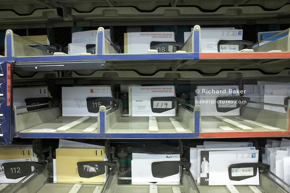 Letters sorted by the Royal Mail operated Siemens Integrated Mail Processor operated at Nine Elms sorting office