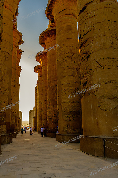 Great Hypostyle Hall of Karnak comprises of 134 gigantic stone columns with 12 larger columns standing 80 feet high lining the central aisle
