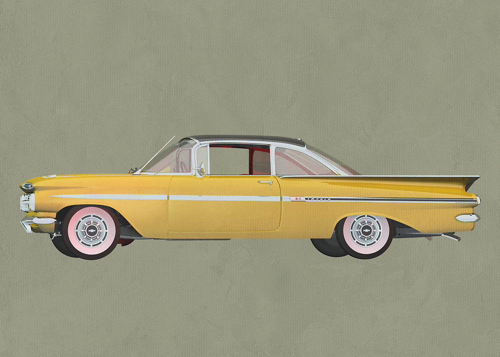 Chevrolette Impala 1959 Hard Top<br /> This stunning entry from Chevrolet is celebrated as one of the finest designs ever brought to life by the company. The Chevrolet Impala Special Edition truly lived up to the special part of its name. This digital painting by Jan Keteleer takes you back to the days when these cars ruled the roads. .