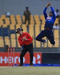 July 8, 2017 - Hambantota, Sri Lanka - Sri Lankan cricketer Wanindu Hasaranga takes a catch to dismiss Zimbabwe's Sikandar Raza(unseen during the 4th One Day International cricket matcth between Sri Lanka and Zimbabwe at ..Mahinda Rajapaksa International Cricket Stadium, (southern part of Sri Lanka) at Hambantota, ..Sri Lanka on Saturday 8 th July 2017  (Credit Image: © Tharaka Basnayaka/NurPhoto via ZUMA Press)
