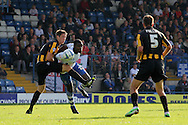 Bury's Jessy Reindorf  (c) battles for the ball with Southend's Luke Prosser and Mark Phillips. Skybet football league two match, Bury v Southend Utd at Gigg Lane in Bury, England on Sat 21st Sept 2013. pic by David Richards/Andrew Orchard sports photography