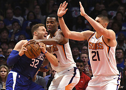 October 21, 2017 - Los Angeles, California, U.S. - Los Angeles Clippers forward Blake Griffin (32) drives to the basket and his fouled against the Phoenix Suns in the first quarter during an NBA basketball game at the Staples Center on Saturday, Oct 21, 2017 in Los Angeles. .(Photo by Keith Birmingham, Pasadena Star-News/SCNG) (Credit Image: © San Gabriel Valley Tribune via ZUMA Wire)