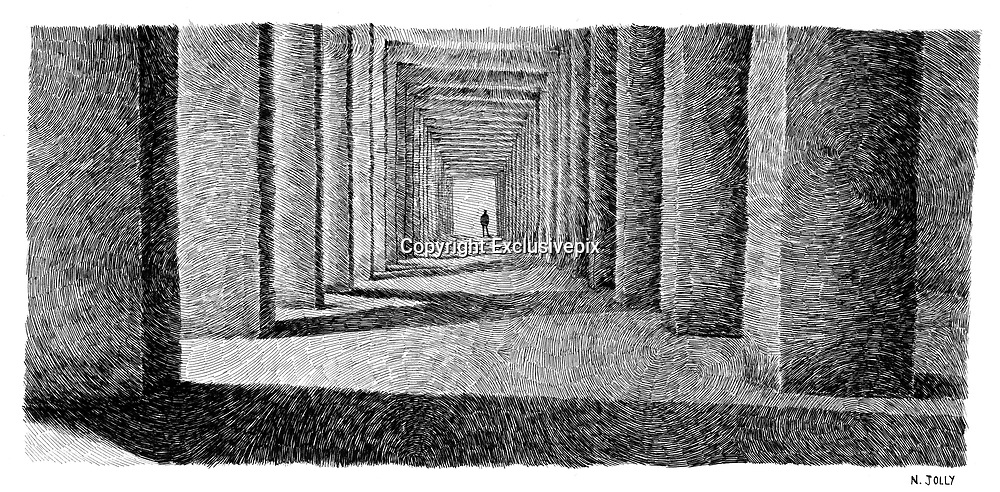 Drawings Made with Fingerprint Patterns by Nicolas Jolly<br /><br />Fingerprints is a brilliantly executed series of black ink drawings by French artist Nicolas Jolly that features various scenes in an intricately applied fingerprint pattern. Each meticulous piece in the collection presents a laborious effort consisting of thousands upon thousands of tiny black streaks working in unison to result in a cohesive image.<br /><br />Upon closer inspection, one is able to take in the minute details of Jolly's work as the dashes move in conjunction with one another and seamlessly part ways in different directions. Additionally, the artist's swirling patterns allow the viewer's gaze to wander all around, like a traveling stream.<br /><br />It's the visual journey throughout each figurative illustration that builds the audience's admiration for the artist's diligent work. Jolly's ability to form figurative illustrations with abstract markings relies heavily on his keen eye and crafty talents. The clever artist skillfully alternates the width and length of his markings to simulate light, shadows, and shape. When viewed from afar, the images seem whole with a magnificent sense of movement and texture.<br />©Nicolas Jolly/Exclusivepix