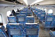 seats inside a shinkansen bullet  train Japan