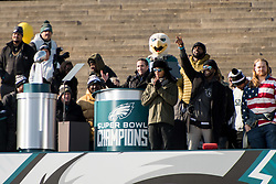 February 8, 2018 - Philadelphia, Pennsylvania, U.S - Philadelphia Eagles HOWIE ROSEMAN, addresses the fans on the steps of the Art Museum at  the Philadelphia Eagles Super Bowl celebration in Philadelphia PA (Credit Image: © Ricky Fitchett via ZUMA Wire)