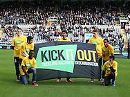 Children with a Kick it out anti racism poster - Barclays Premier League - Newcastle Utd vs Liverpool - St James' Park Stadium - Newcastle Upon Tyne - England - 1st November 2014  - Picture Simon Bellis/Sportimage