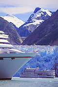Alaska. Southeast. Tracy Arm. Crusie ships, glaciers in background.
