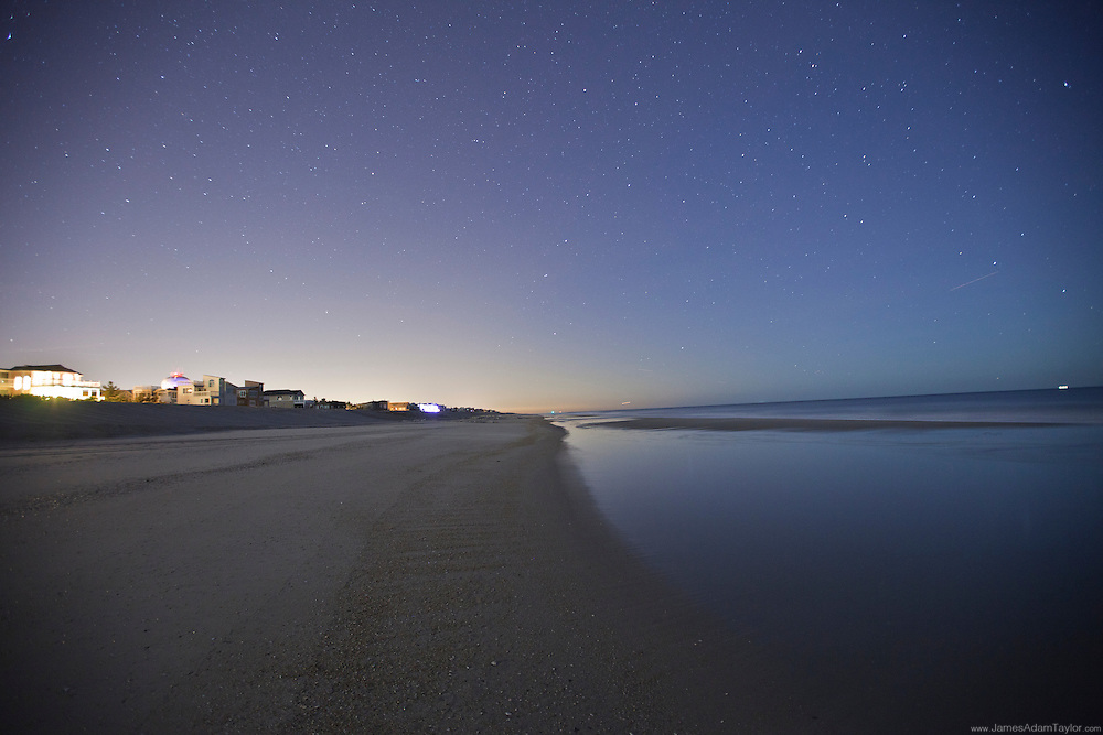 Looking north under the stars on a recently groomed beach,  Long Beach Island.