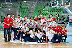 Third place for team Spain during ceremony after Lithuania won and become European Champions U-20 after basketball match between National teams of Lithuania and France in Final match of U20 Men European Championship Slovenia 2012, on July 22, 2012 in SRC Stozice, Ljubljana, Slovenia. Lithuania defeated France 50:49. (Photo by Matic Klansek Velej / Sportida.com)