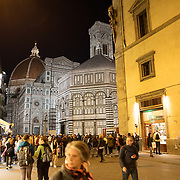 FLORENCE, ITALY - OCTOBER 31: <br /> A night time view of Florence's Cathedral, Basilica di Santa Maria del Fiore, known as Duomo in Florence, Italy. The Duomo is the main church of the city of Florence. Construction was started in 1296 in the Gothic style with the structure completed in 1436. The famous dome was designed by Arnolfo di Cambio and engineered by Filippo Brunelleschi. Florence, Italy, 31st October 2017. Photo by Tim Clayton/Corbis via Getty Images)
