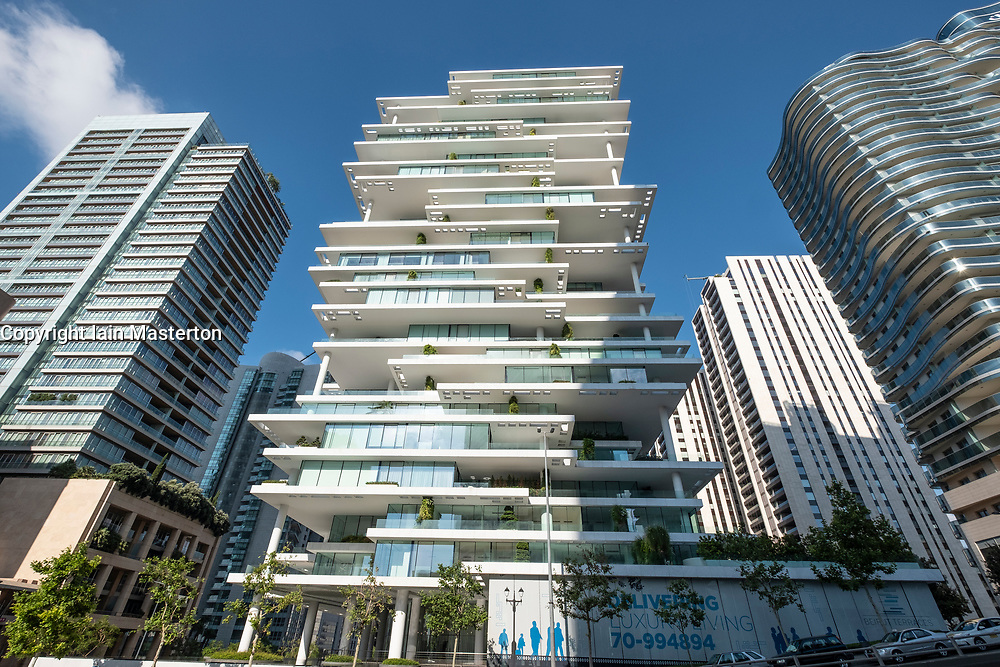 Modern high rise luxury apartment buildings , The Terraces, in central Beirut , Lebanon.