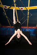 Female Aerialist acrobat performs in the air on a trapeze in a circus tent
