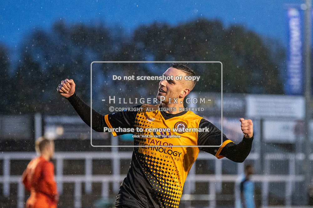 BROMLEY, UK - NOVEMBER 09: Joseph Taylor, of Cray Wanderers FC, enjoys scoring his hat-trick during the BetVictor Isthmian Premier League match between Cray Wanderers and Cheshunt at Hayes Lane on November 9, 2019 in Bromley, UK. <br /> (Photo: Jon Hilliger)