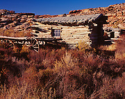 Log cabin built in 1907 by Ed and Flora (Wolfe) Stanley, Wolfe Ranch, Arches National Park, Utah.