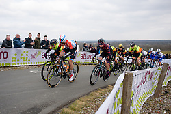 Christine Majerus & Tiffany Cromwell approach the top of the VAMberg at Drentse 8 van Westerveld 2018 - a 142 km road race on March 9, 2018, in Dwingeloo, Netherlands. (Photo by Sean Robinson/Velofocus.com)