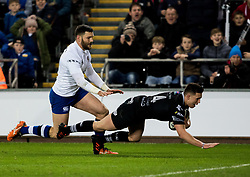 Ospreys' Dewi Cross scores his sides first try<br /> <br /> Photographer Simon King/Replay Images<br /> <br /> Anglo-Welsh Cup Round 4 - Ospreys v Bath Rugby - Friday 2nd February 2018 - Liberty Stadium - Swansea<br /> <br /> World Copyright © Replay Images . All rights reserved. info@replayimages.co.uk - http://replayimages.co.uk