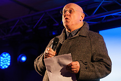 London, UK. 15th January, 2019. Hywel Williams, Plaid Cymru MP for Arfon, addresses pro-EU activists attending a People's Vote rally in Parliament Square as MPs vote in the House of Commons on Prime Minister Theresa May's proposed final Brexit withdrawal agreement.