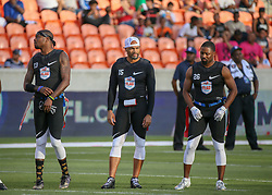 July 19, 2018 - Houston, TX, U.S. - HOUSTON, TX - JULY 19:  Godspeed defensive back Jacoby Jones (13), Godspeed quarterback Seneca Wallace (15), and Godspeed defensive back Josh Wilson (26) stand as they are announced during the American Flag Football League Ultimate Final game between the Fighting Cancer and Godspeed on July 19, 2018 at BBVA Compass Stadium in Houston, Texas.  (Photo by Leslie Plaza Johnson/Icon Sportswire) (Credit Image: © Leslie Plaza Johnson/Icon SMI via ZUMA Press)