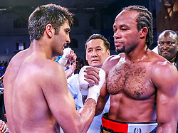 December 23, 2017 - Jaipur, Rajasthan, India - An Indian Boxer Vijender Singh and Ghana's  Boxer Ernest Amuzu in action during the  WBO Asia Pacific and WBO Oriental Super Middleweight Championship at SMS Indoor Stadium in Jaipur ,Rajasthan,India on 23 December 2017.Vijender Singh beats Ernest Amuzu for 10th successive victory, defends his WBO Asia Pacific and Oriental titles against Ghana's Ernest Amuzu in a Super Middleweight clash. (Credit Image: © Vishal Bhatnagar/NurPhoto via ZUMA Press)