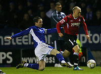 Photo: Steve Bond/Richard Lane Photography. Leicester City v Swansea City. FA Cup Third Round. 02/01/2010. David Cotterill (R) is tackled by Matt Oakley (L)