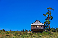 traditional house in Dabadzveli mountain landscape near Borjomi  landmark of Samtskhe Javakheti region Georgia eastern Europe