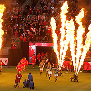 Canada and South Africa run out of the tunnel before the quarter final of the Canada Sevens,  Round Six of the World Rugby HSBC Sevens Series in Vancouver, British Columbia, Sunday March 12, 2017. <br /> <br /> Jack Megaw.<br /> <br /> www.jackmegaw.com<br /> <br /> jack@jackmegaw.com<br /> @jackmegawphoto<br /> [US] +1 610.764.3094<br /> [UK] +44 07481 764811