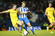 Rotherham United midfielder Aidan White and Brighton central midfielder, Dale Stephens during the Sky Bet Championship match between Brighton and Hove Albion and Rotherham United at the American Express Community Stadium, Brighton and Hove, England on 15 September 2015.