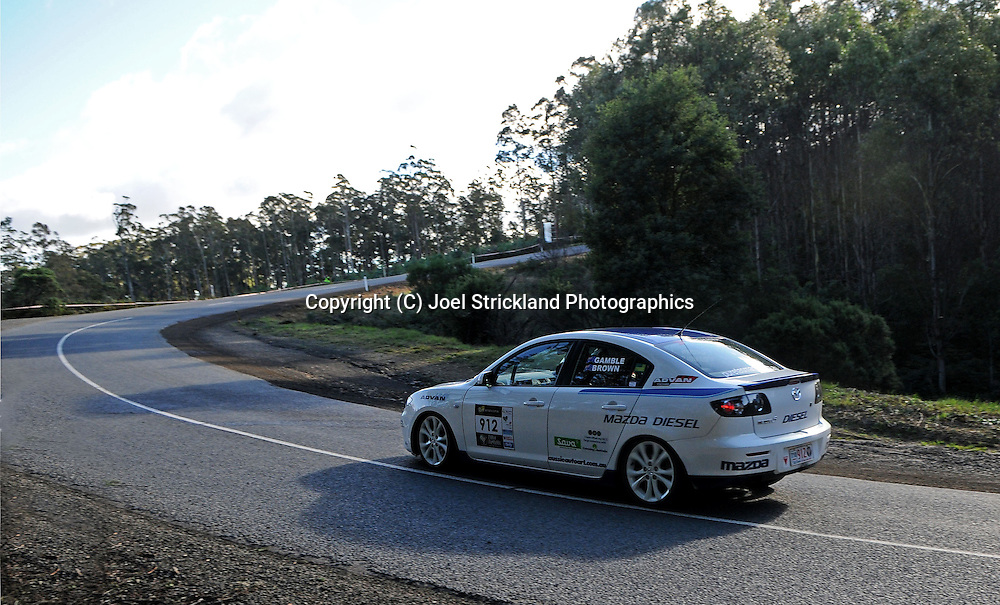 #912 - Peter Brown & Stewart Gamble - 2007 Mazda 3 Diesel.Day 2.Targa Tasmania 2010.29th of April 2010.(C) Joel Strickland Photographics.Use information: This image is intended for Editorial use only (e.g. news or commentary, print or electronic). Any commercial or promotional use requires additional clearance.