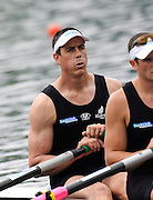 ucerne, SWITZERLAND. NZL M2X,  Bow, Rob WADDELL and Nathan COHEN, move away from the start, of the Men's Double Sculls,  at the 2008 FISA World Cup Regatta, Round 2.  Lake Rotsee, on Thursday,  30/05/2008.  [Mandatory Credit:  Peter Spurrier/Intersport Images].Lucerne International Regatta. Rowing Course, Lake Rottsee, Lucerne, SWITZERLAND.