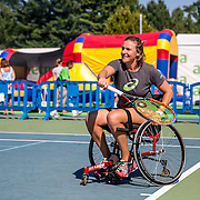 August 24, 2016, New Haven, Connecticut: <br /> Abigail Spears attends a wheelchair tennis clinic during Day 6 of the 2016 Connecticut Open at the Yale University Tennis Center on Wednesday, August  24, 2016 in New Haven, Connecticut. <br /> (Photo by Billie Weiss/Connecticut Open)