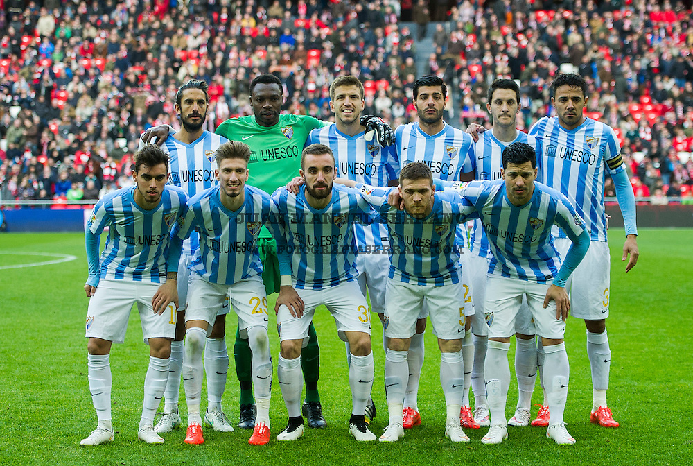 BILBAO, SPAIN - JANUARY 25: Malaga CF line up for a team photo prior to the La Liga match between Athletic Club and Malaga CF at San Mames Stadium on January 25, 2015 in Bilbao, Spain.  (Photo by Juan Manuel Serrano Arce/Getty Images)