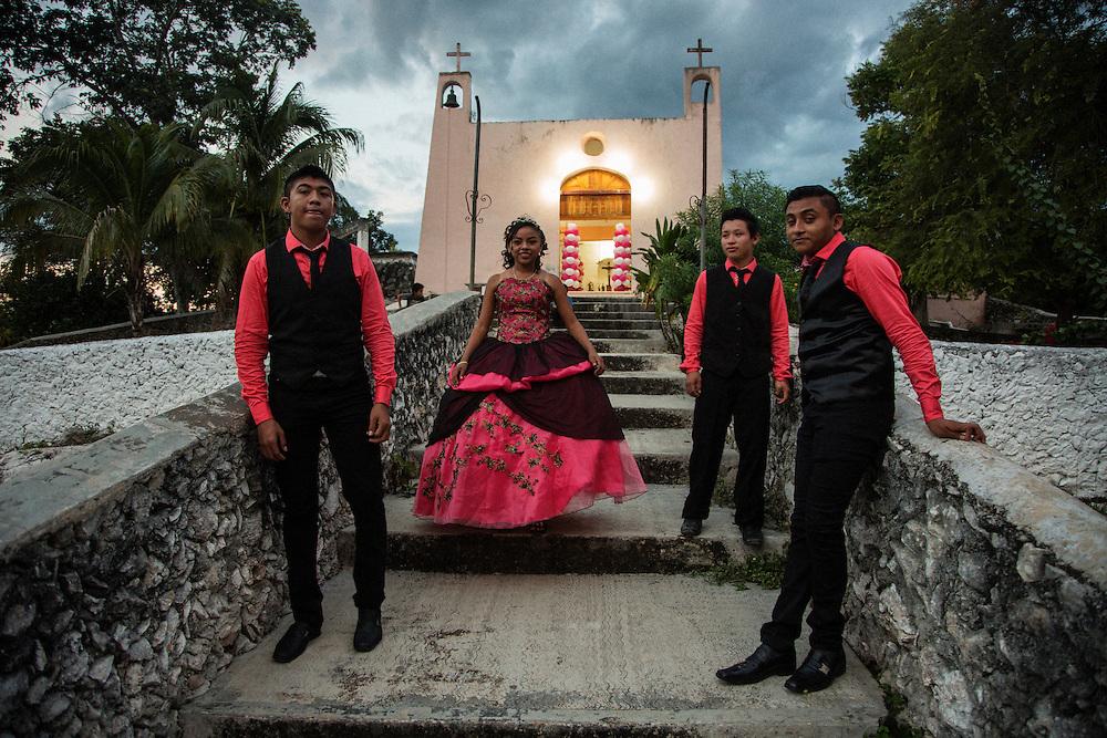 Quinceanera for Alejandra in Yokdzonot, Yucatan.<br /> <br /> October 10, 2015.
