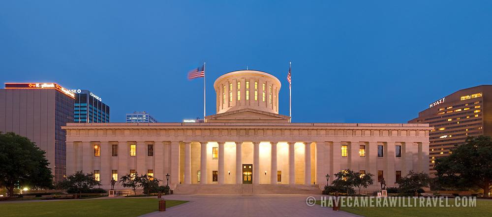 Ohio State Capitol Building in Columbus, Ohio, at dusk.