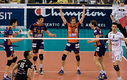 Matevz Kamnik, Vid Jakopin, Daniel Lewis and Andrej Flajs of ACH celebrate at 2nd Semifinal match of CEV Indesit Champions League FINAL FOUR tournament between ACH Volley, Bled, SLO and Trentino BetClic Volley, ITA, on May 1, 2010, at Arena Atlas, Lodz, Poland. Trentino defeated ACH 3-1. (Photo by Vid Ponikvar / Sportida)