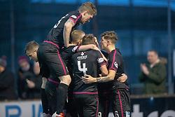 Arbroath's Ryan Wallace (9) cele scoring their third goal. Stenhousemuir 1 v 4 Arbroath, Scottish Football League Division One play12/1/2019 at Ochilview Park.
