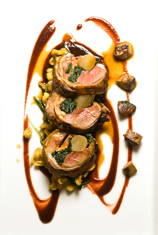 Spinach and Salsify-Stuffed Roulade of Hudson Valley Squab with Spaetzle, Foie Gras, Chestnuts, and Winter Stone Fruit Puree